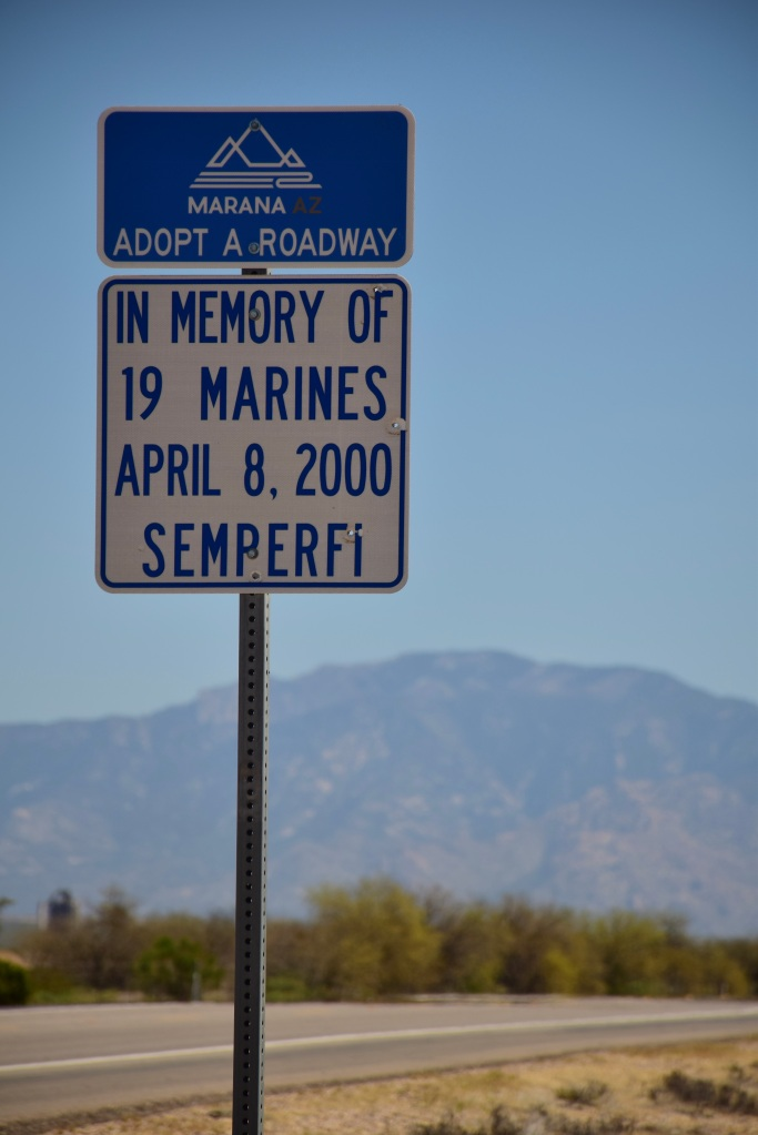 Marines killed in Marana, AZ to be remembered. My photo of roadway sign.